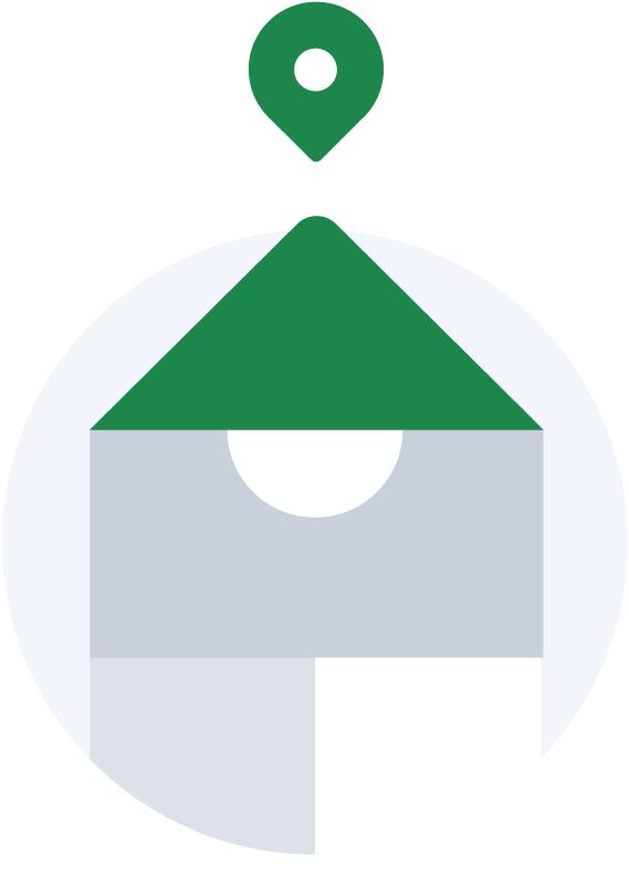 Green and grey Otis location icon for smart video security made simple