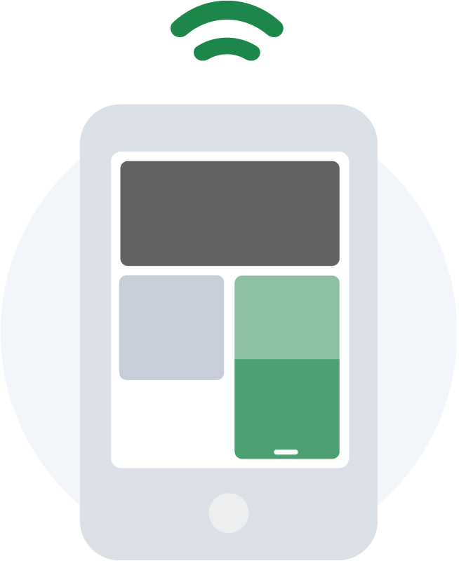 Smart device icon to show connection to the Otis smart and affordable video-based security