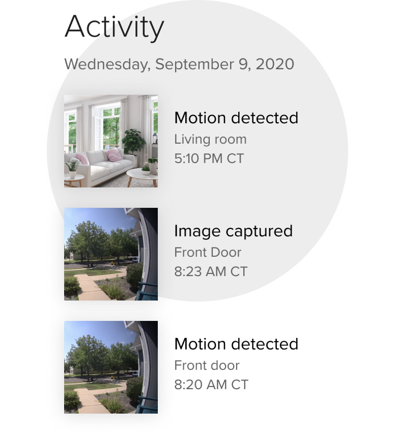 An activity feed of the Otis video-based security system with three images from where the Otis sercurity camera system is set up in the home with location labels and time stamps