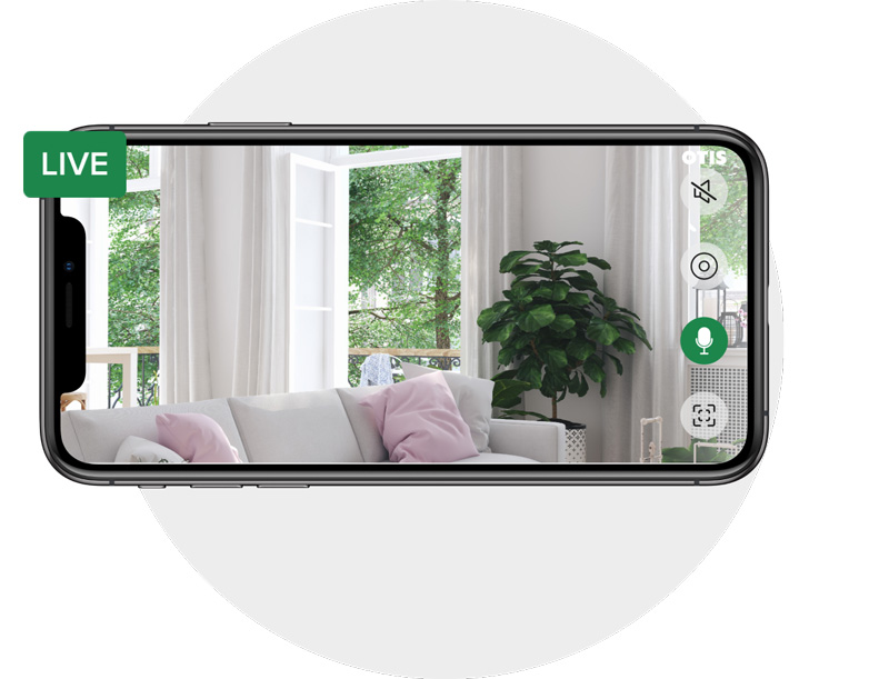 An image of a living room on a smartphone to show how the Otis smart and affordable video-based security system works on a mobile device